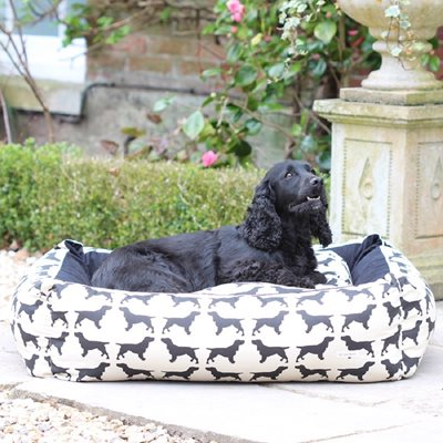 DOG BED in Spaniel Print