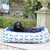 Large Dog Bed in Spaniel Print Blue