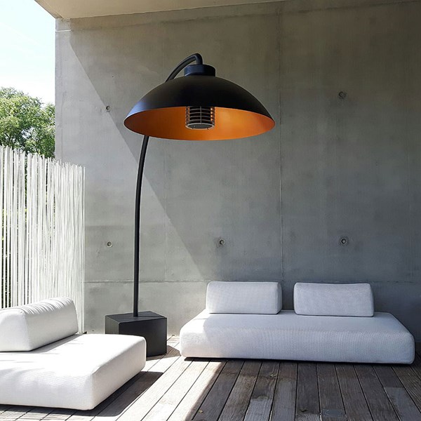 Heatsail Dome Freestanding Patio Heater Floor Lamp in Black