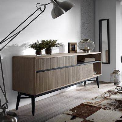 HENDRIX LARGE WOODEN SIDEBOARD in Black and Oak