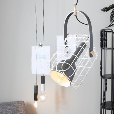 Image of Cage Pendant Light in White