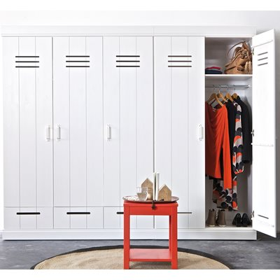 CONNECT Contemporary 3 Door Locker Cabinet With Storage