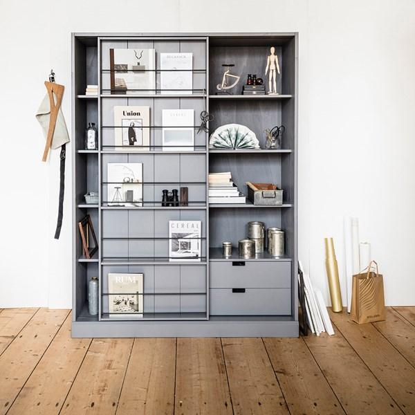 Swing Pine Cabinet with Sliding Door in Grey
