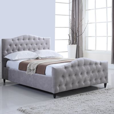 LAURA UPHOLSTERED OTTOMAN BED IN GREY by Flair Furnishings