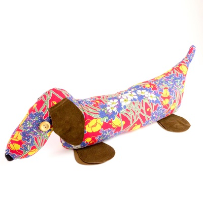 DACHSHUND LIBERTY PRINT LAVENDER DOORSTOP Hazel Cotton & Leather