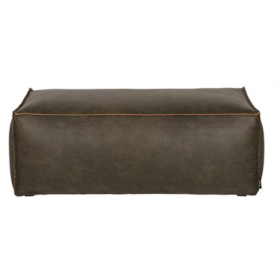 RODEO LEATHER POUFFE in Army Green