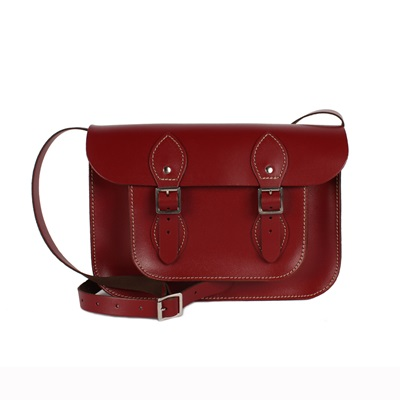 LEATHER SATCHEL BAG in Lipstick Red