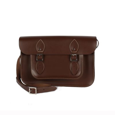 LEATHER SATCHEL BAG in Cocoa Brown