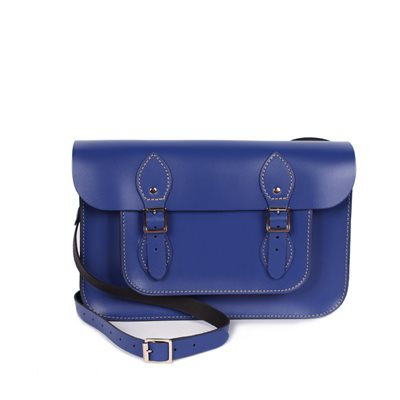 LEATHER SATCHEL BAG in Electric Blue