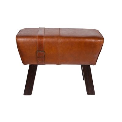 SMALL LEATHER VINTAGE BENCH in Brown