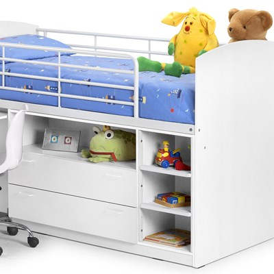 ... Leo Mid Sleeper Cabin Bed White Storage Julian  ...