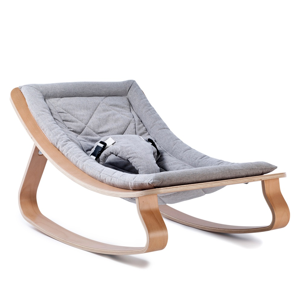 levo baby rocker in beech wood with sweet grey cushion. Black Bedroom Furniture Sets. Home Design Ideas