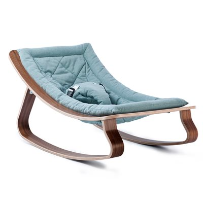 LEVO BABY ROCKER in Walnut Wood with Aruba Blue Cushion
