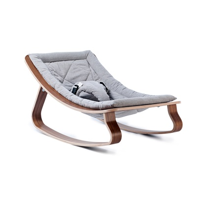 LEVO BABY ROCKER in Walnut Wood with Sweet Grey Cushion