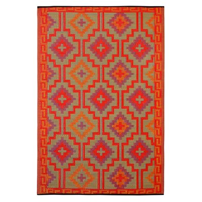FAB HAB LHASA OUTDOOR RUG in Orange, Violet & Red