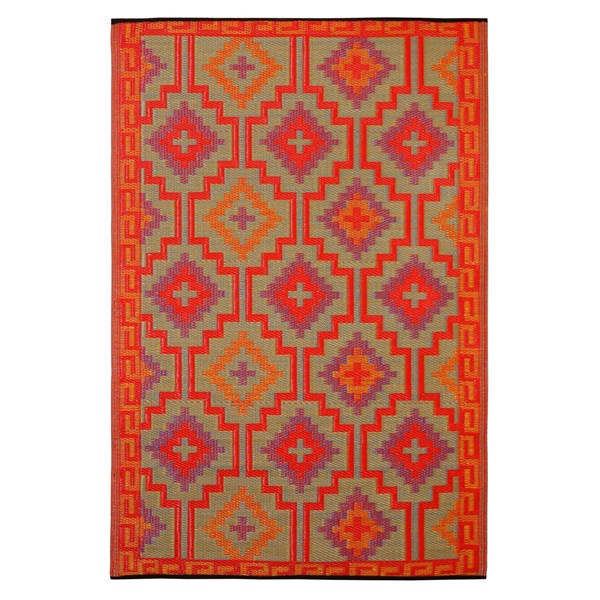 Outdoor Rug for Patio in Orange and Violet - Lhasa