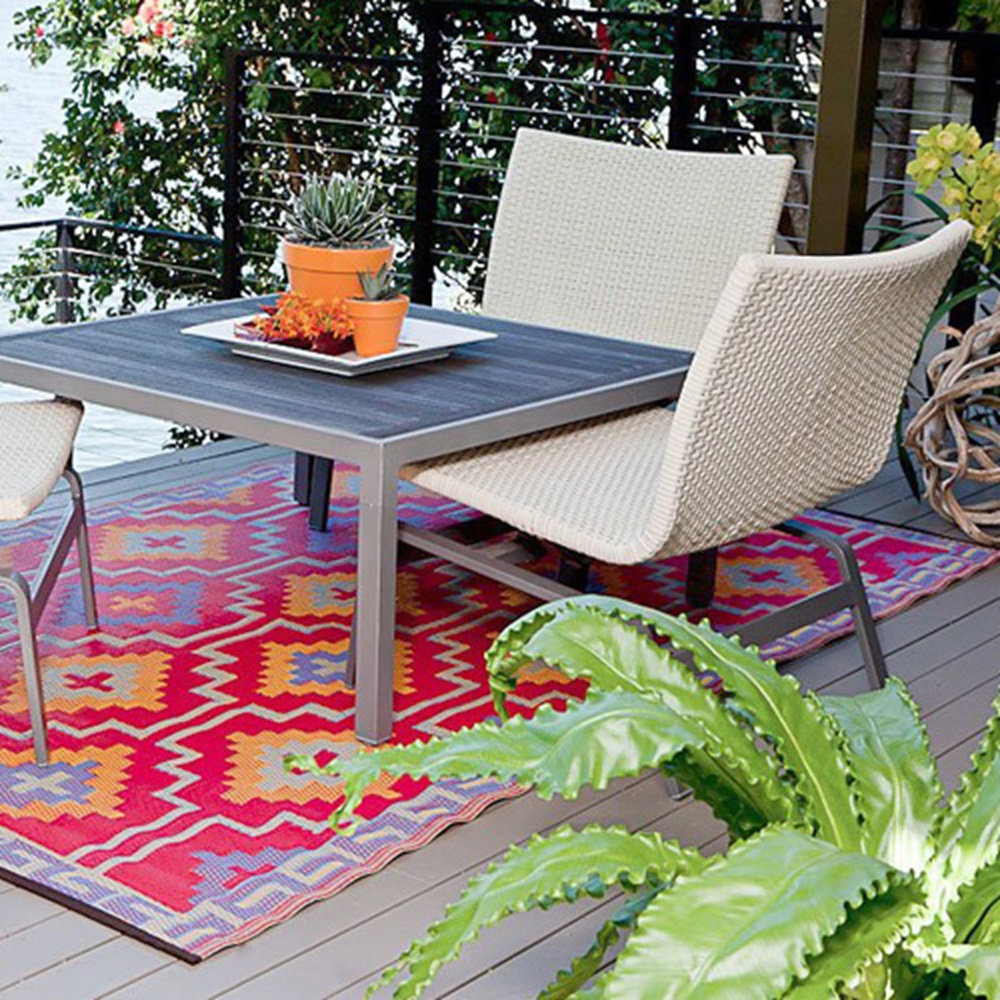 Dog Themed Outdoor Rugs: Lhasa Outdoor Rug In Orange & Violet