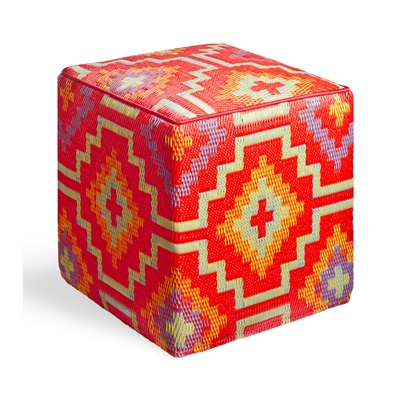 LHASA OUTDOOR CUBE POUFFE in Orange & Violet