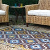 Lhasa Outdoor Rug in Blue and Brown