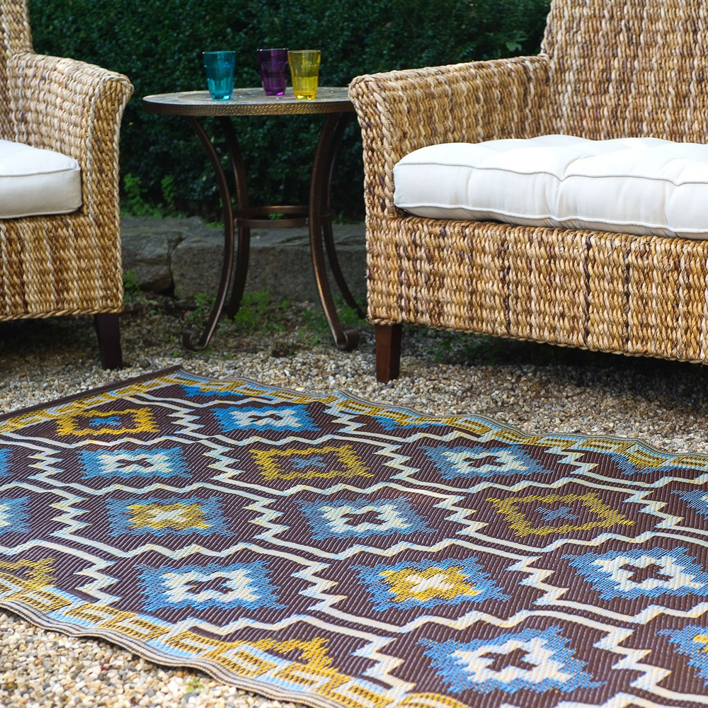 Lhasa Outdoor Rug In Blue Brown Outdoor Rugs Cuckooland