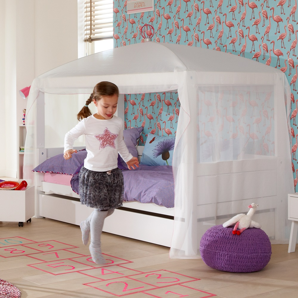 lifetime 4 in 1 combination bed with optional white canopy. Black Bedroom Furniture Sets. Home Design Ideas