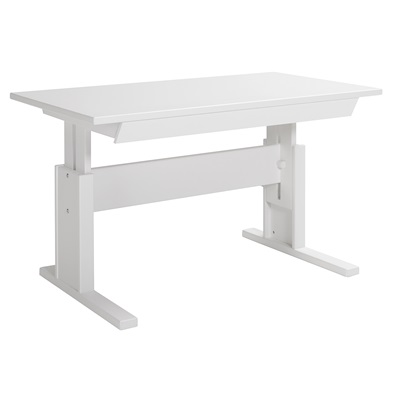 Kids Adjustable Writing Desk in White with Storage Drawer