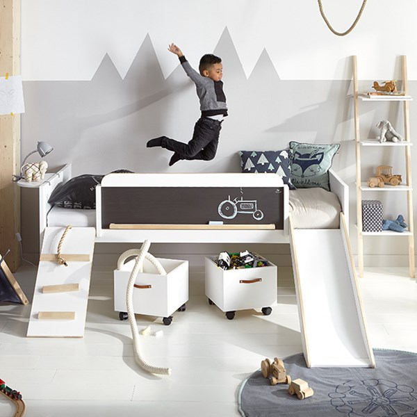 Unique Childrens Play, Learn & Sleep Low Cabin Bed with Slide