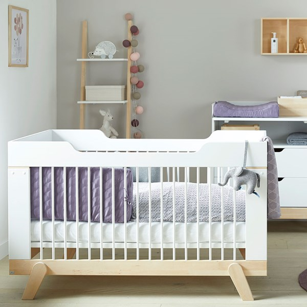 Lifetime Baby Cot Bed in White & Birch