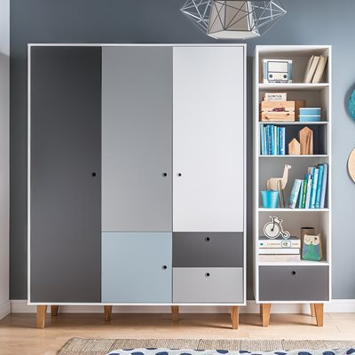 Vox Concept 3 Door Wardrobe in Grey & Blue
