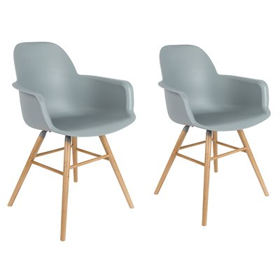 ZUIVER PAIR OF ALBERT KUIP RETRO MOULDED ARMCHAIRS in Light Grey