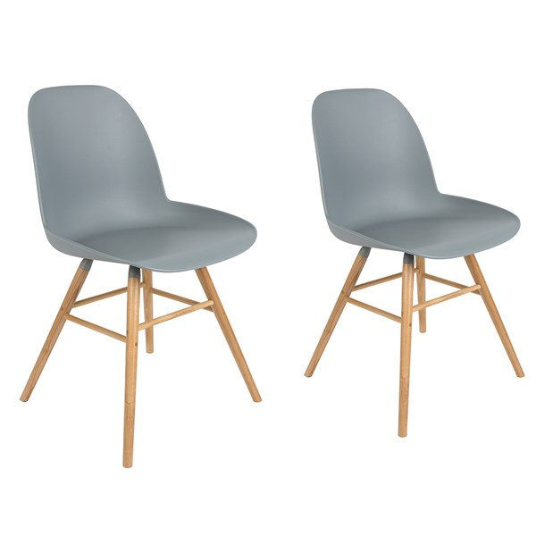 A Pair of Albert Kuip Retro Moulded Dining Chairs in Light Grey