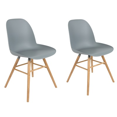 Zuiver Pair of Albert Kuip Retro Moulded Dining Chairs in Light Grey