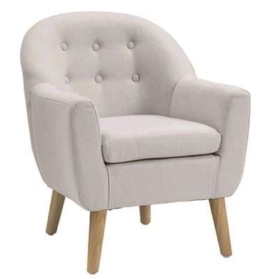Superb Light Grey Button Kids Armchair ...