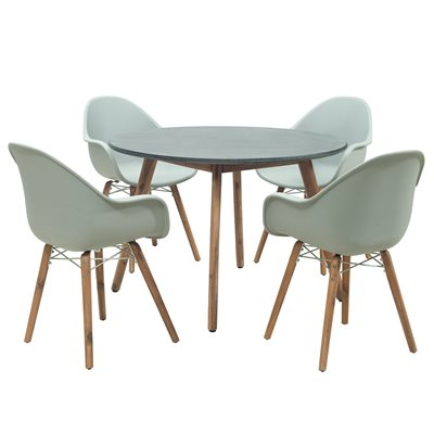 ZARI 4 SEAT ROUND DINING TABLE AND CHAIRS SET in Light Grey