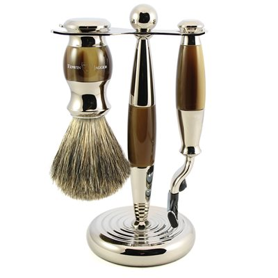 EDWIN JAGGER MEN'S SHAVING BRUSH SET in Light Horn Finish