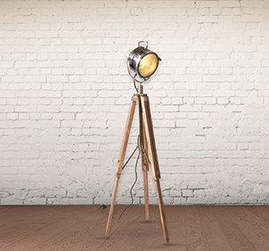 WOODEN INDUSTRIAL TRIPOD FLOOR LAMP