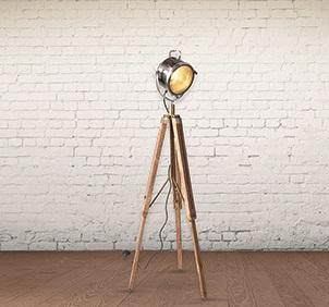 WOODEN INDUSTRIAL TRIPOD FLOOR LAMP
