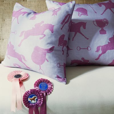GYMKHANA STYLISH FABRIC in Lilac / Fuchsia Metre Length