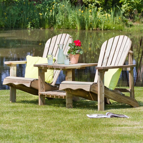 Zest 4 Leisure Wooden Lily Relax Double Seat with Optional Footstool