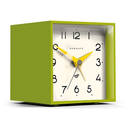 NEWGATE CUBIC Alarm Clock in Lime Green