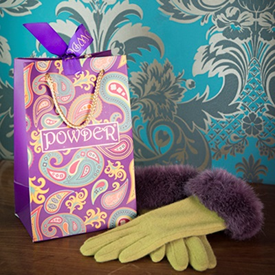 TALLULAH Ladies Designer Wool Gloves in Lime & Aubergine