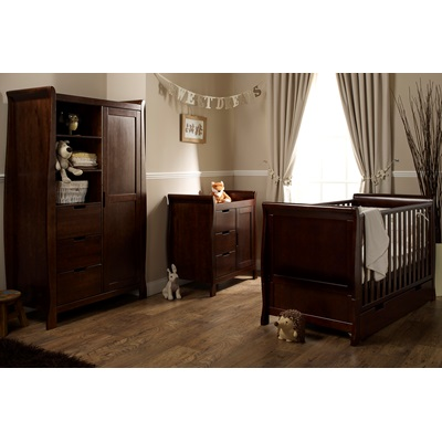 STAMFORD COT BED 3 PIECE NURSERY SET in Walnut by Obaby