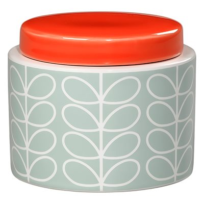 ORLA KIELY CERAMIC SMALL STORAGE JAR in Linear Stem Duck Egg Blue Print