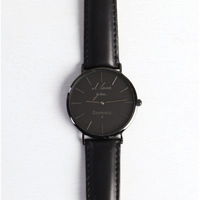 PERSONALISED I LOVE YOU WATCH in Black by Lisa Angel