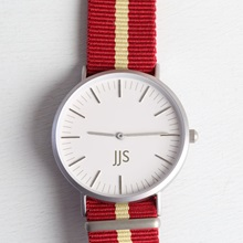 Lisa-Angel-Personalised-Watch-White-Face-Red-and-Cream-Fabric-Strap.jpg