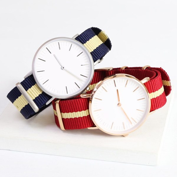 Personalised Watch with Nato Strap in Rose Gold by Lisa Angel