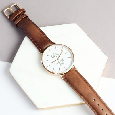 PERSONALISED WIFEY WATCH in Silver by Lisa Angel
