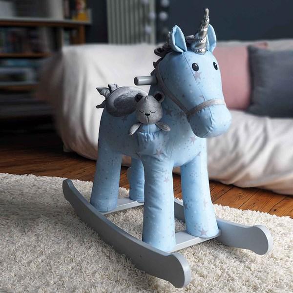 Unicorn Rocker with Teddy Bear Soft Toy Accessory