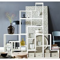 CONTEMPORARY WHITE DISPLAY CABINET in Tetris Shape