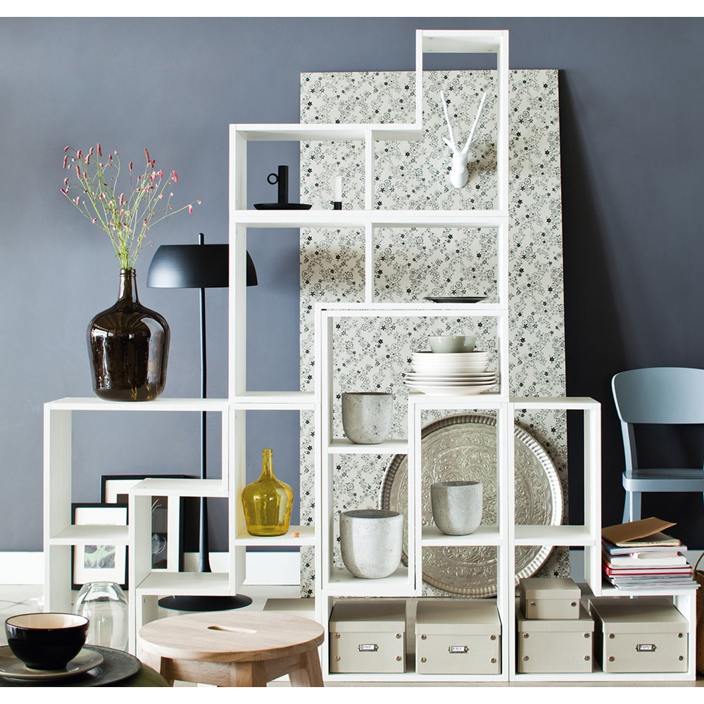 Contemporary White Display Cabinet In Tetris Shape - Woood | Cuckooland